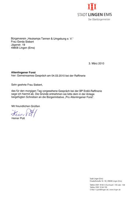 Absage an den Bürgerverein