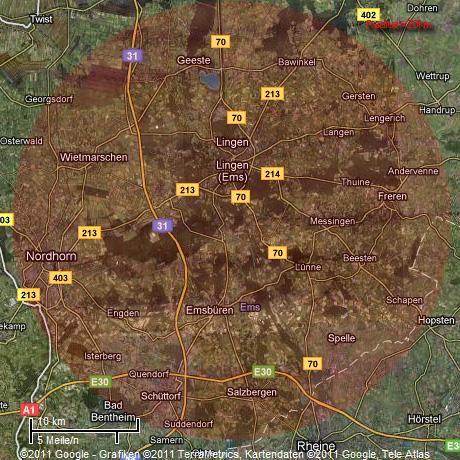 Radius 20km um das AKW Emsland