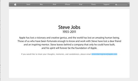 Nachruf auf der apple-Internetseite 6.10.2011