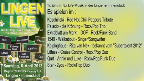 Lingen Live mit Bands 6. April